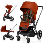 CYBEX PRIAM WÓZEK SPACEROWY LUX SEAT AUTUMN GOLD & STELAŻ BLACK ALL TERRAIN - KOLEKCJA 2017