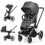 CYBEX PRIAM WÓZEK SPACEROWY LUX SEAT MANHATTAN GREY & STELAŻ CHROME ALL TERRAIN - KOLEKCJA 2017